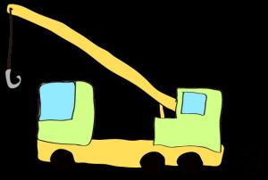 黄緑:【フリー素材・ 大型車】クレーン車
