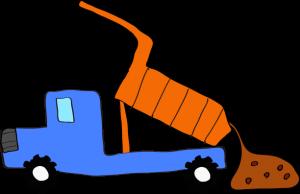 ダンプカー土砂下ろし:青 【 フリー素材工事車両 】