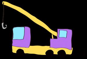 紫:【フリー素材・ 大型車】クレーン車