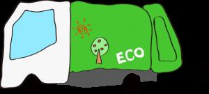 ゴミ収集車 エコデザイン 緑