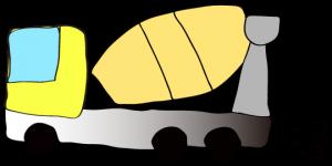 黄色 【フリー素材・工事車両】 ミキサー車(グラデーション)