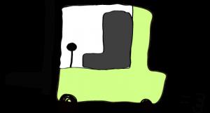 黄緑:フォークリフト【フリー素材・働く車】