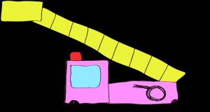 フリー素材 はしご車 ピンク(ロング)