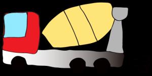 赤 【フリー素材・工事車両】 ミキサー車(グラデーション)