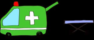 フリー素材 救急車 緑(タンカ)