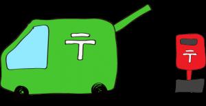 緑:郵便車(ポスト)【フリーイラスト・町の車】