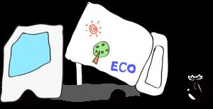 ゴミ収集車 エコデザイン 白