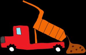 ダンプカー土砂下ろし:赤 【 フリー素材工事車両 】