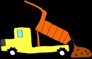 ダンプカー土砂下ろし:黄色 【 フリー素材工事車両 】