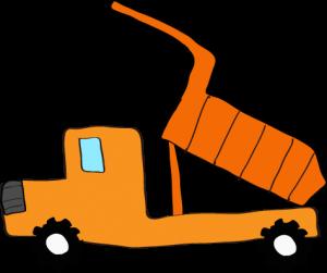 ダンプカー荷台上:オレンジ 【 フリー素材工事車両 】