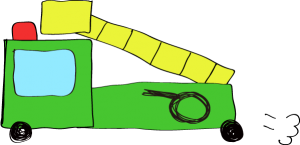 フリー素材 はしご車 緑