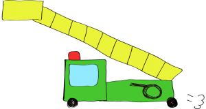 フリー素材 はしご車 緑(ロング)