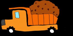 ダンプカー土積:オレンジ 【 フリー素材工事車両 】