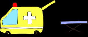 フリー素材 救急車 黄色(タンカ)