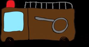 フリー素材 【ポンプ車】 茶色