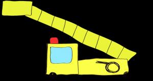 フリー素材 はしご車 黄色(ロング)