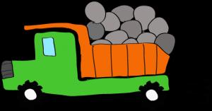 ダンプカー石載:緑 【 フリー素材工事車両 】