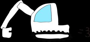 ショベルカー: 白 【 フリー工事車両 】