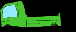 緑【フリー素材・乗り物】 トラック(空)