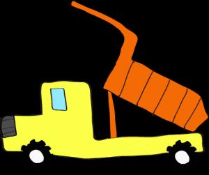 ダンプカー荷台上:黄色 【 フリー素材工事車両 】