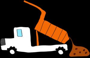 ダンプカー土砂下ろし:白 【 フリー素材工事車両 】