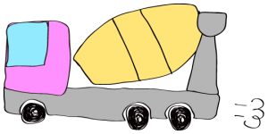ピンク 【フリー素材・工事車両】 ミキサー車