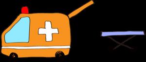 フリー素材 救急車 オレンジ(タンカ)