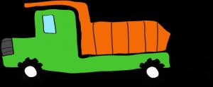 ダンプカー:緑 【 フリー素材工事車両 】