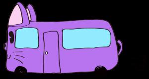 紫:【乗り物フリー素材】 猫バス