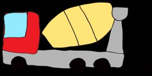 赤 【フリー素材・工事車両】 ミキサー車