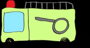 フリー素材 【ポンプ車】 黄緑