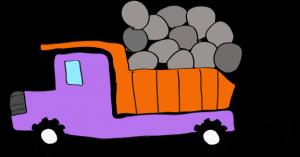 ダンプカー石載:紫 【 フリー素材工事車両 】