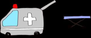 フリー素材 救急車 グレイ(タンカ)