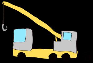 グレー:【フリー素材・ 大型車】クレーン車