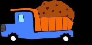 ダンプカー土積:ブルー 【 フリー素材工事車両 】