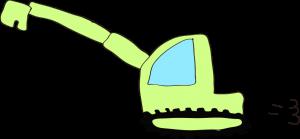 ショベルカーロング:黄緑 【 フリー工事車両 】