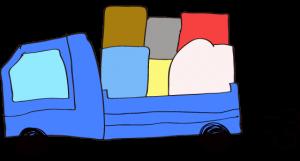 青 【フリー素材・乗り物】 トラック(積荷)