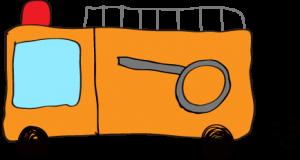 フリー素材 【ポンプ車】 オレンジ