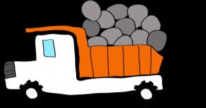 ダンプカー石載:白 【 フリー素材工事車両 】