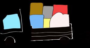 黒 【フリー素材・乗り物】 トラック(積荷)