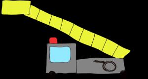 フリー素材 はしご車 グレイ(ロング)