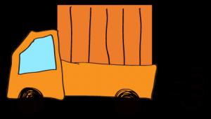 オレンジ 【フリー素材・乗り物】 軽トラック(荷台カバー)
