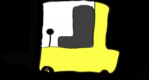 黄色:フォークリフト【フリー素材・働く車】