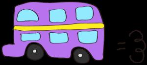 紫:【乗り物フリー素材】 二階建てバス