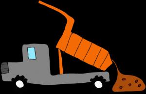 ダンプカー土砂下ろし:グレー 【 フリー素材工事車両 】