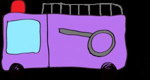 フリー素材 【ポンプ車】 紫