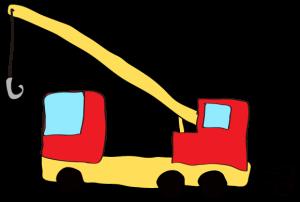 赤:【フリー素材・ 大型車】クレーン車