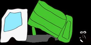 ゴミ収集車 緑【作業中】