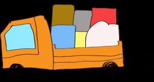 オレンジ 【フリー素材・乗り物】 トラック(積荷)