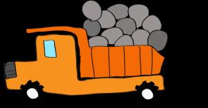 ダンプカー石載:オレンジ 【 フリー素材工事車両 】